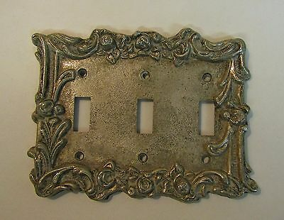 *** Vintage Silver Pewter Colored Finish Metal Triple Switch Cover ***