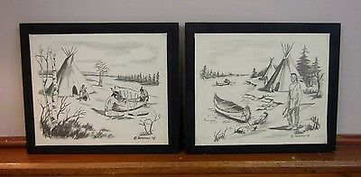 * Set Of 2 Vintage Early American * Original Charcoal Drawings * Signed *