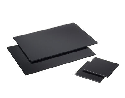 Rectangle Black Glass Placemats Drinks Coasters Dining Table Mats 2 Of Each Set