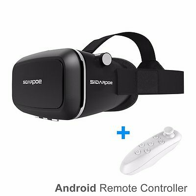 SIDARDOE 3D VR Glasses, Virtual Reality Headset with Android Bluetooth Remote