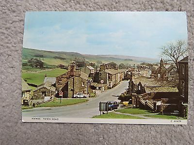 Vintage 1979 Hawes Town Head Real Photo Postcard - Fina station & cars
