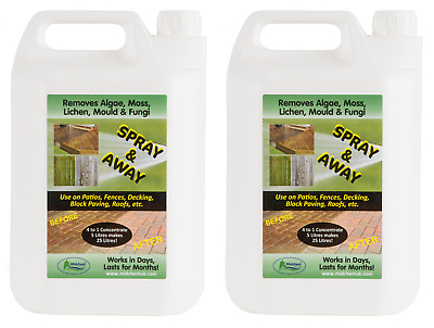 Moss Killer 2 x 5L. Algae and Moss Killer Fencing Decking Drive Patio Cleaner