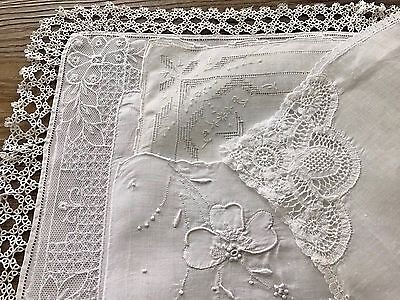 A+ Vintage Lot 5 Lace & Embroidered White Wedding Bridal Hankies Handkerchiefs