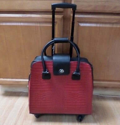 Hang Accessories Harlequin Red & Black Crocodile Rolling Trolley Bag