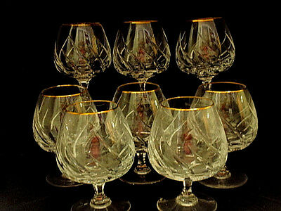Set of 7 + 1 MIKASA Gold Rim Heavy Lead Crystal ~ PREVIEW GOLD Brandy Snifters