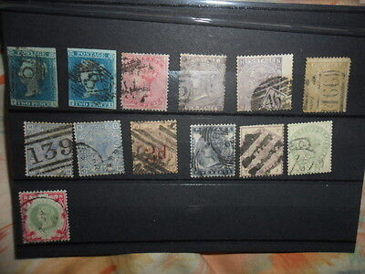 """POSTAGE STAMP STOCK CARD OF QV GB STAMPS INCLUDEDES 2 """"d BLUEX 2 WORTH A LOOK"""