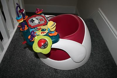 Mamas and Papas pink Raspberry snug seat with tray and toy