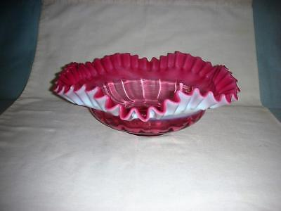 Victorian Cranberry & White Crimped/Pleated Rim Brides Basket Bowl