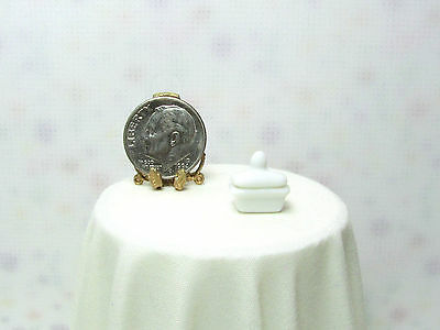 Dollhouse Miniature White Ceramic Covered Butter Dish