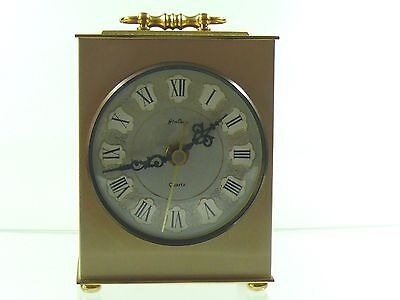Clock  Bentima -Quartz Desk/carriage  Brass Gold Tone