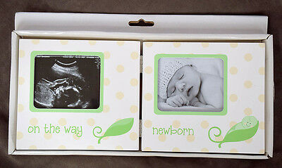 "Pearhead ""On the Way"" Sonogram Frame, White L'il Peach Before & After Birth, NEW"