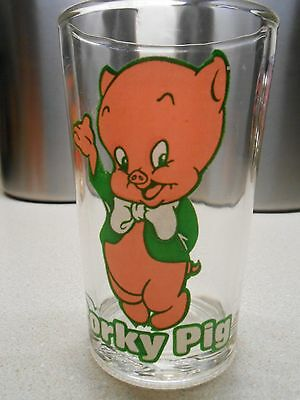 Vintage 1976 Warner Bros. Porky Pig Welch's Jelly Jar Glass With Elmer on bottom