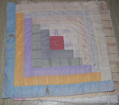 4 1910-20's Log Cabin quilt blocks, Pale subtly beautiful