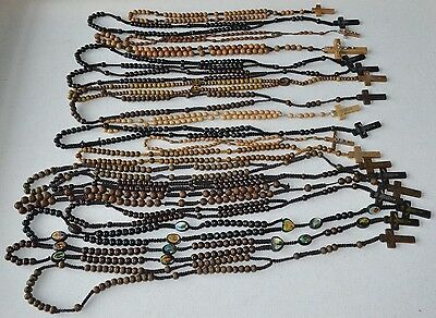 Lot of 18 religious rosaries rosary - all WOOD