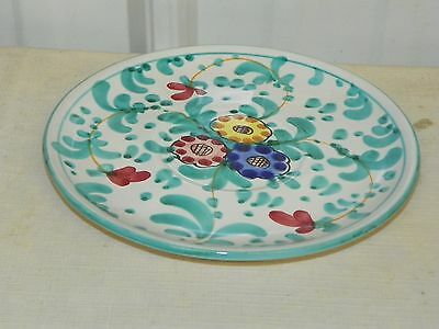 Italy Italian Ceramic Handpainted Floral 7 3/4'' Wall Plate AIO 11/121        J3