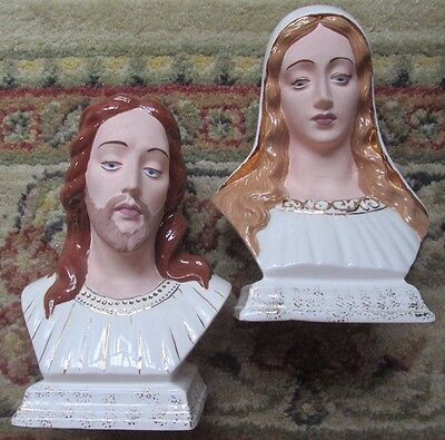 Vintage Holland Mold JESUS & MARY Bust Figures Statues Ceramic Hand-Crafted