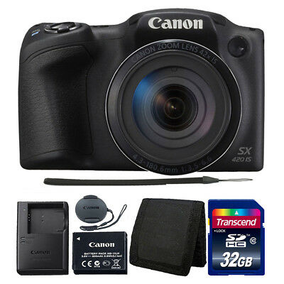 Canon PowerShot SX420 IS 20MP Digital Camera (Black) with 32GB Top Accessory Kit