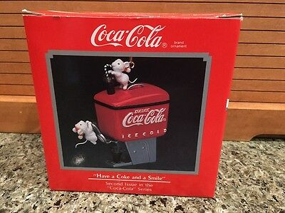 "Enesco 1990 COCA-COLA Christmas Ornament  ""Have a Coke and a Smile"" - New in Box"
