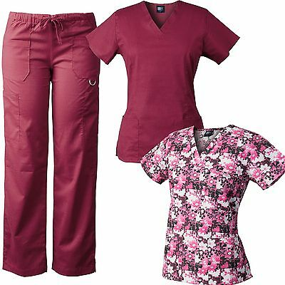 MedGear 3-Piece Stretch Scrubs Set with Printed Scrub Top Combo 7895-FPGO