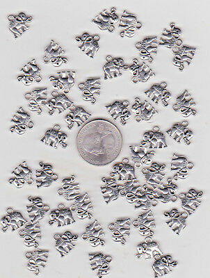 You Get 50  Metal Silver Tone Elephant Charms. Or Pendants - U.s. Seller  - C 33