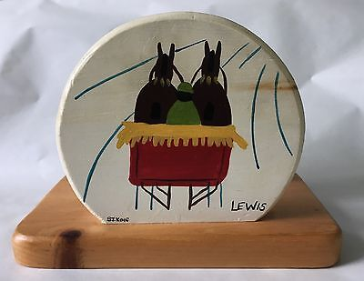 Wooden napkin holder; based on Maud Lewis painting; Nova Scotia FOLK ART Artist