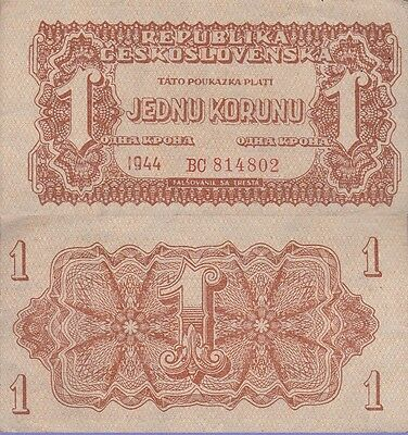 Czechoslovakia 1 Korun Banknote 1944 About Uncirculated Condition Cat#45-A-4802