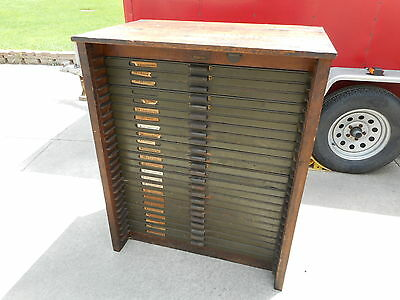 Vintage Wood Hamilton 24 Drawer Printer's Cabinet   COMPLETE & ORIGINAL