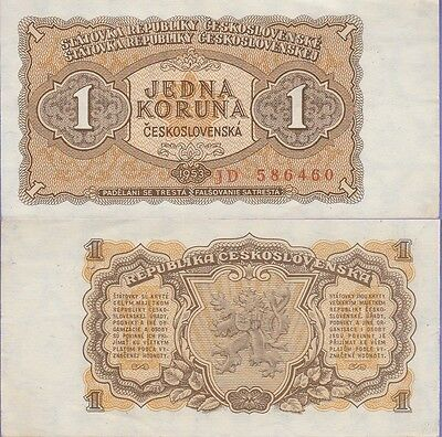 Czechoslovakia 1 Korun Banknote 1953 About Uncirculated Condition Cat#78-A-6460