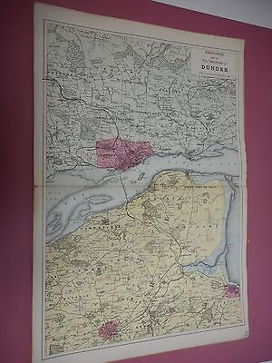 100% Original Large Environs Of Dundee Scotland  Map  By G Bacon C1896 Railways