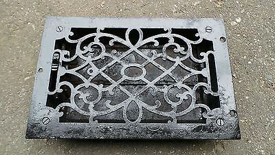 Antique VICTORIAN Cast Iron Floor Grille 12x8 Heat Grate Register + Louvers