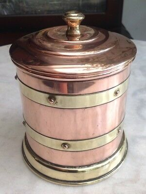 Vintage Linton Copper & Brass Tea Caddy Storage Jar