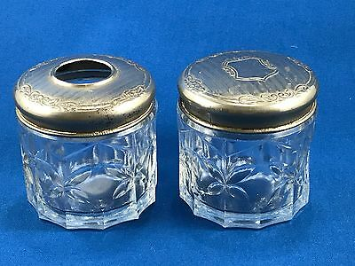 Antique Pressed Glass Dresser Set (2) with Metal Lids Early 20th Century