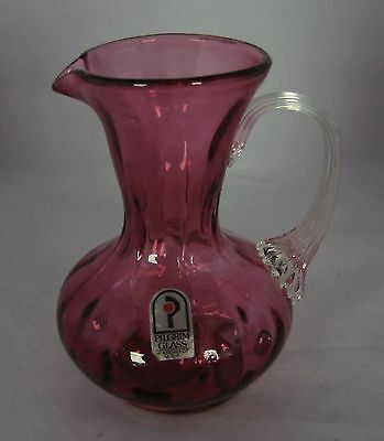 Vintage Hand Blown Pilgrim Glass Syrup Pitcher Creamer Ribbed Applied Handle