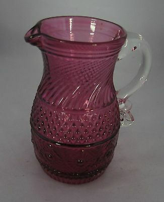 Pilgrim Cranberry & Crystal Sandwich Pattern Art Glass Small Mini Cream Pitcher