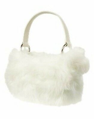 Gymboree NEW NWT Winter Princess Fur Plush Purse Bag Ivory Girls 2t 3 4 5 6 7 8