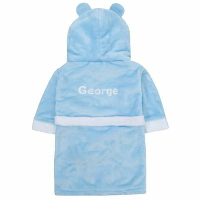 Personalised Embroidered Baby Boy's Puppy Dog Blue Bath Robe Dressing Gown
