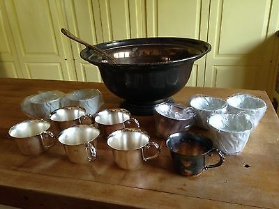 Vintage Silver Plate Punch Bowl 12 Cups & Ladle~New England Volvo Dealers