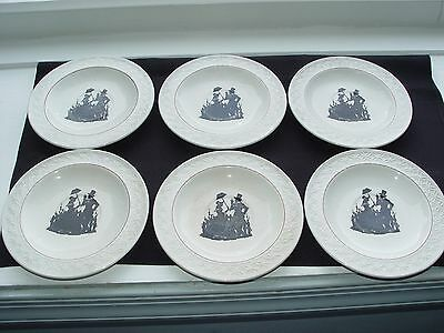 Set of 6 Silhouette Victorian Couple Saucers- W.S. GEORGE-GEOMETRIC pattern