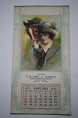 "Original 1920 Large 30"" x 16"" Pinup Advertising Calendar - Macon Illinois Garage"