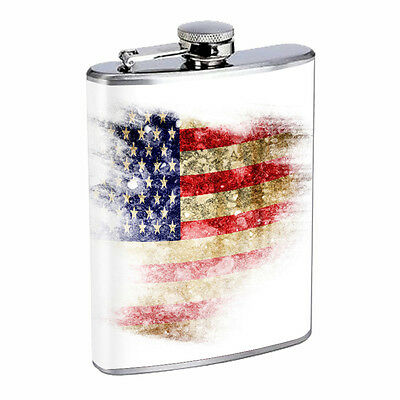 American Flag D15 Flask 8oz Stainless Steel Hip Drinking Whiskey