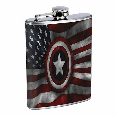 American Flag D19 Flask 8oz Stainless Steel Hip Drinking Whiskey