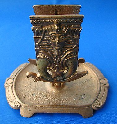 Vintage Painted Brass Art Deco Pharaoh Egyptian Ashtray Match Stand