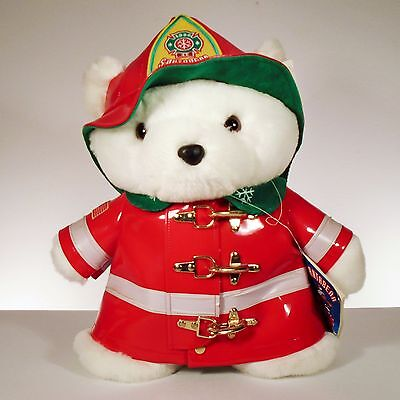 "1996 Dayton Hudson Firefighter Plush Teddy Santa Bear 18"" w/ Tags"