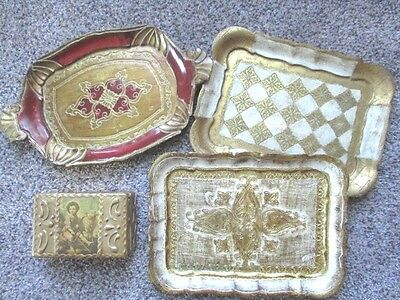 4 Italian Florentine Gold Cream Red Tole Wood Collectible Dresser Box & 3 Trays