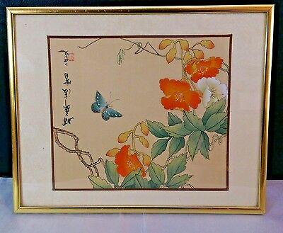 Butterfly Flower Blossoms Japanese Painting Silk Framed Picture orange