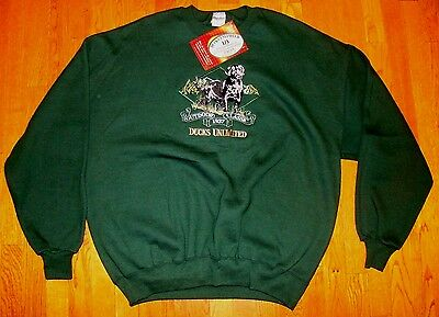 VTG NOS NEW Ducks Unlimited embroidered Labrador dog black sweatshirt USA  XXL