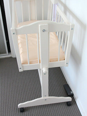 Nursery Baby Cradle Bassinet, Wood, Cream White And Mattress, Colonial Cots