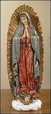TC021  Statue Our Lady of Guadalupe 9 Inch  Figure Painted Resin New Gift Box