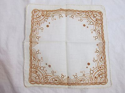 "Vintage Handkerchief Brown Geometric 9"" x 9"""