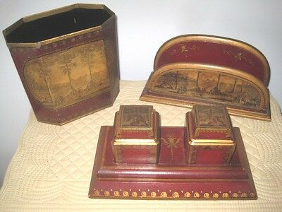 Rare Antique Hand Painted Maroon & Gold 3 Piece Ink Well Letter Holder Desk Set